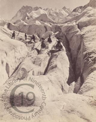 Climbers crossing a glacier