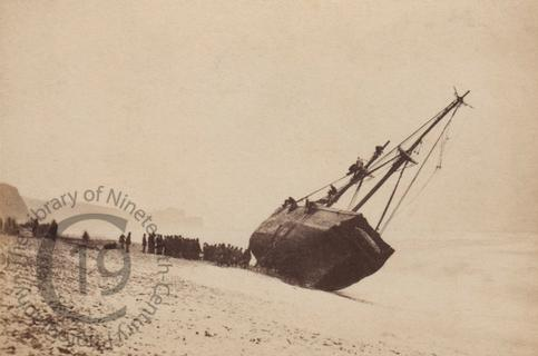 A collier ashore at Budleigh Salterton