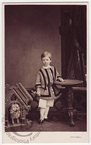 Boy with dog kennel