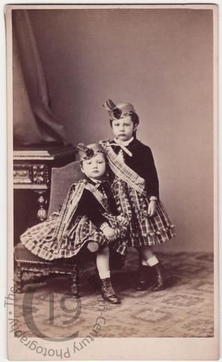 Two boys in tartan