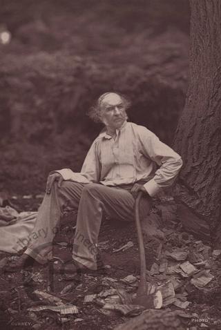 William Gladstone chopping wood