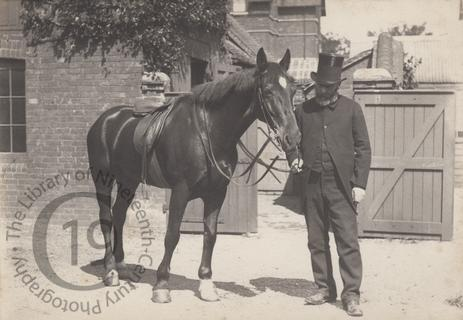 Unidentified man and horse