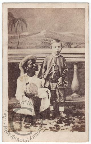 Unidentified boy with Indian servant
