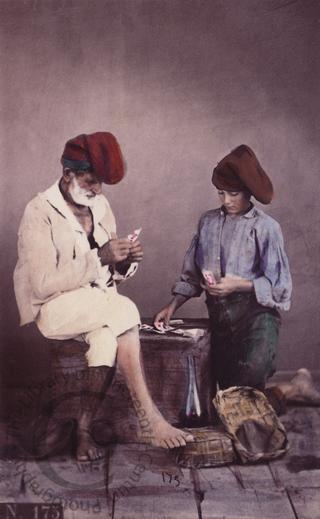 Italian fisherfolk playing cards