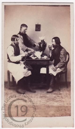 'House porters drinking tea'
