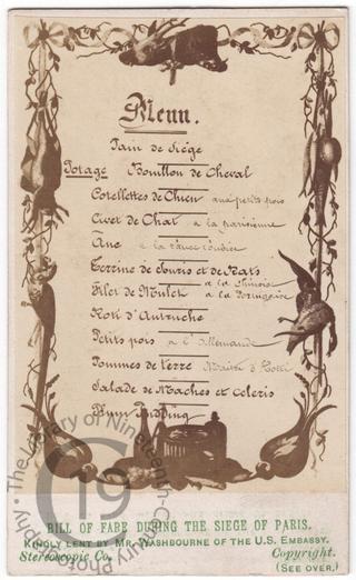 A menu during the Siege of Paris