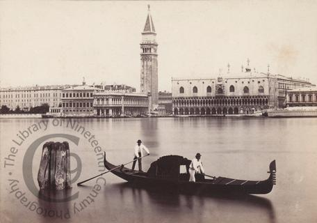 View of Venice with gondola