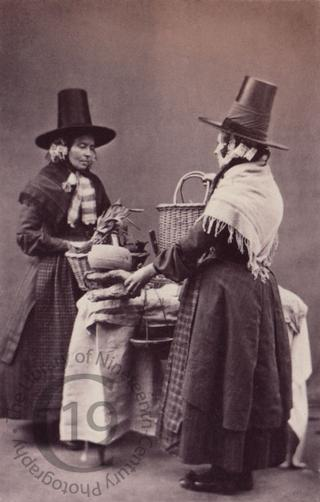 Two Welsh women with market produce