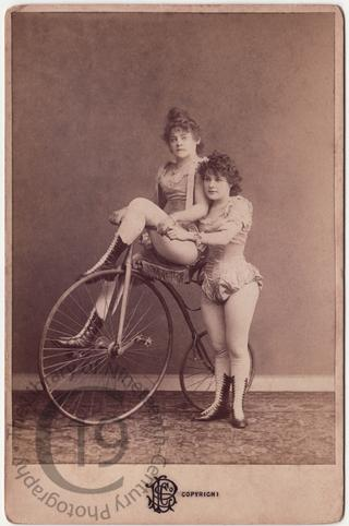 Performers with a bicycle