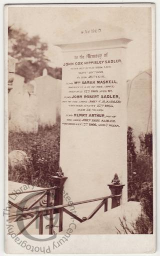 John Cox Hippisley Sadler, died 1860