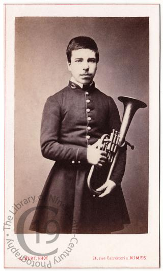French student with tenor horn