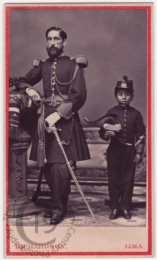 Peruvian officer and small boy