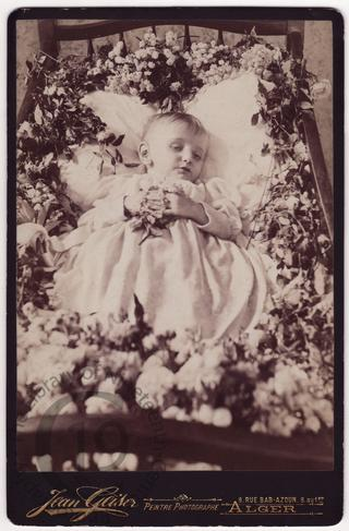 Child in flower-strewn cot