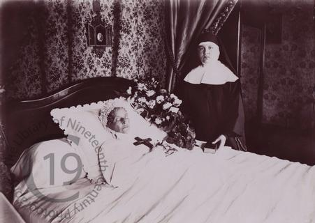 Elderly woman and nun
