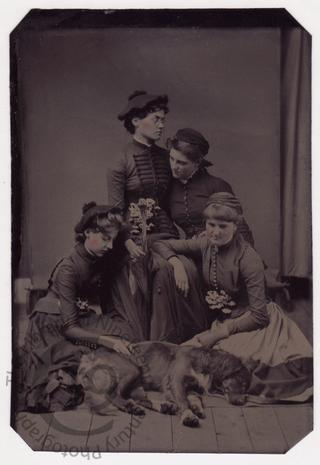 Young women with a dead dog
