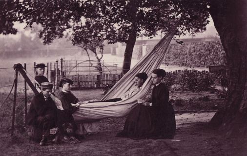 Group in garden with hammock
