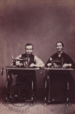 Couple with sewing machines