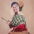 Belgian woman with umbrella and basket