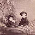 Two children in a rowing boat