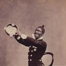 Blackface minstrel with tambourine