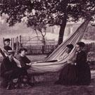 Group in garden with hammock