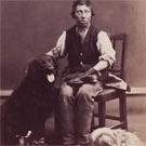 Blind bootblack and his dogs